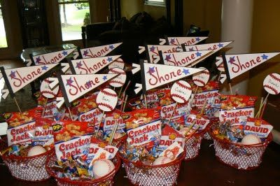 Baseball gift baskets for a visiting team that we hosted for the State Little League Tournament