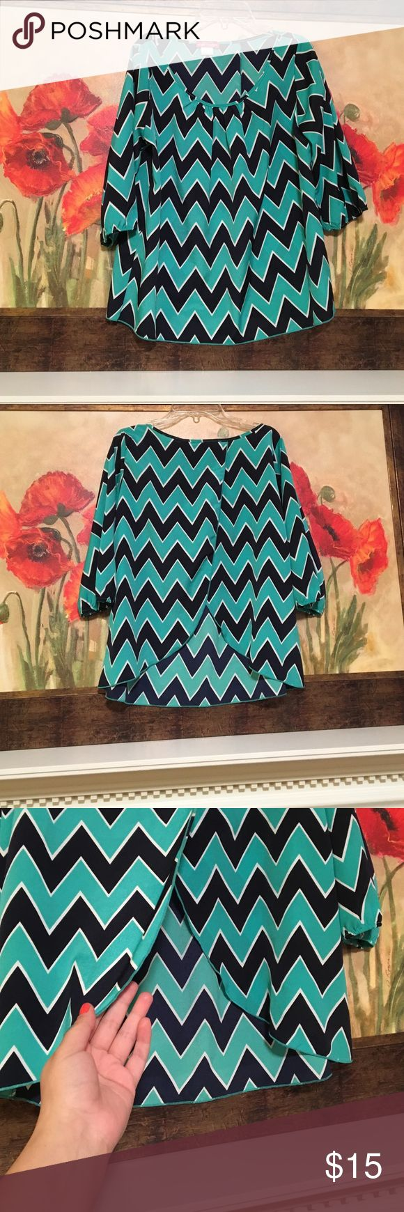 NWOT 3 quarter length chevron top, size medium NEW without tags 3 quarter length Body Central chevron top, size medium, teal and navy blue, overlapping slot in back, 100% polyester Body Central  Tops Blouses