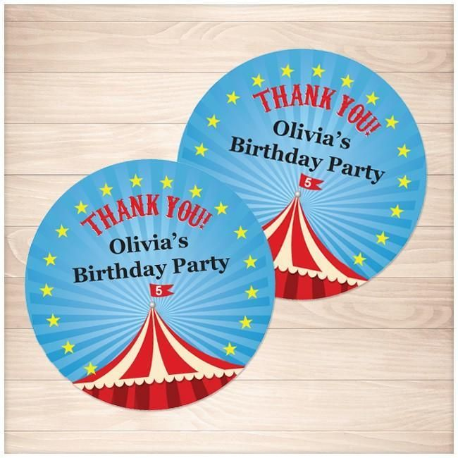 """Printable Goodie! This """"Big Top Circus Bi..."""" is now available for you to download at Printable Planning. #printable http://printableplanning.com/products/big-top-circus-birthday-party-personalized-thank-you-labels-2-x2-printable?utm_campaign=social_autopilot&utm_source=pin&utm_medium=pin"""
