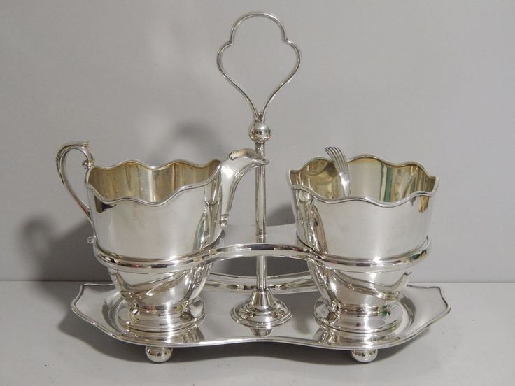 Antique Silver plated Sugar & Creamer set on stand Edward & Sons Glasgow
