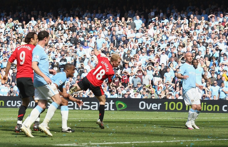 Scholesy's 93rd minute header gave United the win in 2010. Has there been a more dramatic Manchester derby?