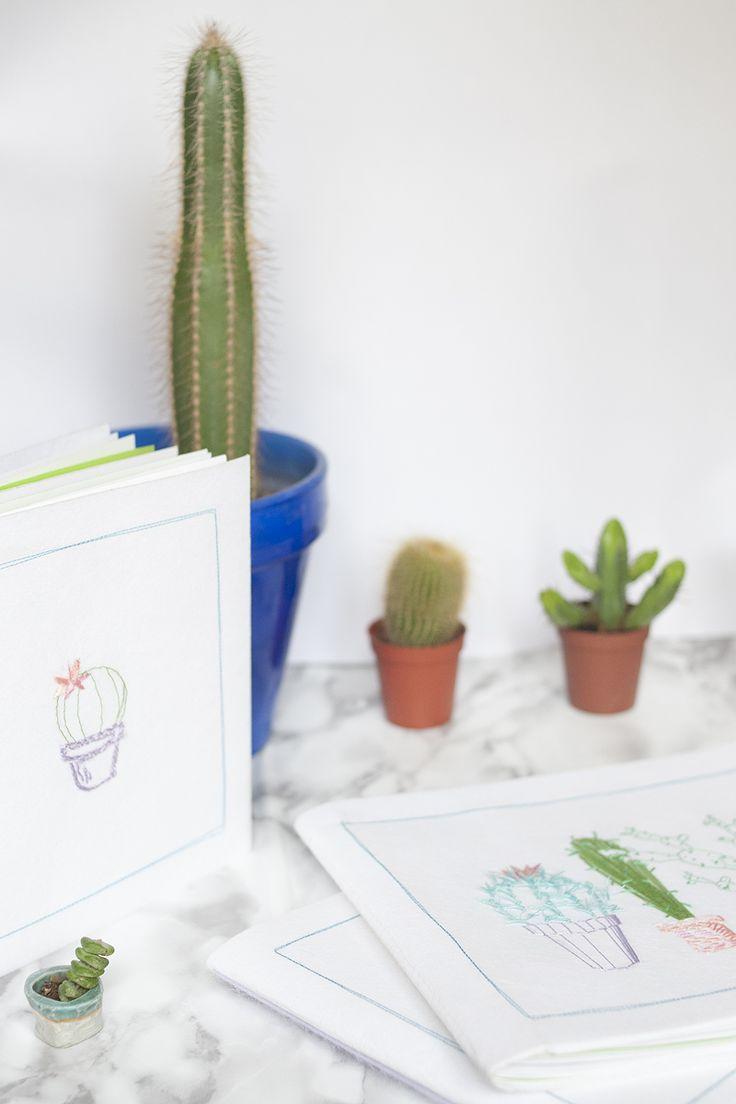 DIY carnets cactus brodés by Tea&Poppies. Faites vous même votre propre carnet! Vous pourrez même en faire un Bullet Journal!