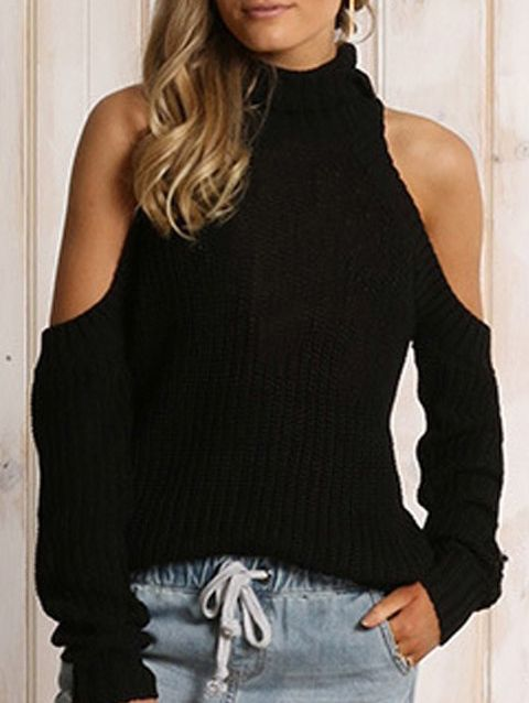 Shop Black High Neck Cold Shoulder Sweater online. SheIn offers Black High Neck Cold Shoulder Sweater & more to fit your fashionable needs.