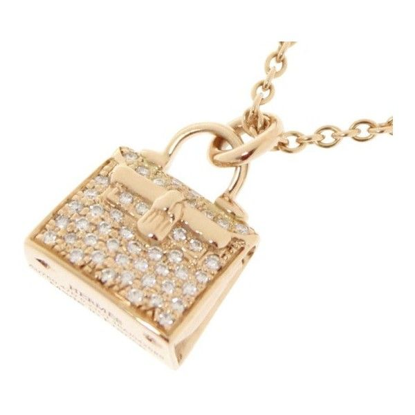 88a81eb979c80 Pre-owned Hermes Kelly Amulette 18K Pink Gold with Diamond Pendant ...