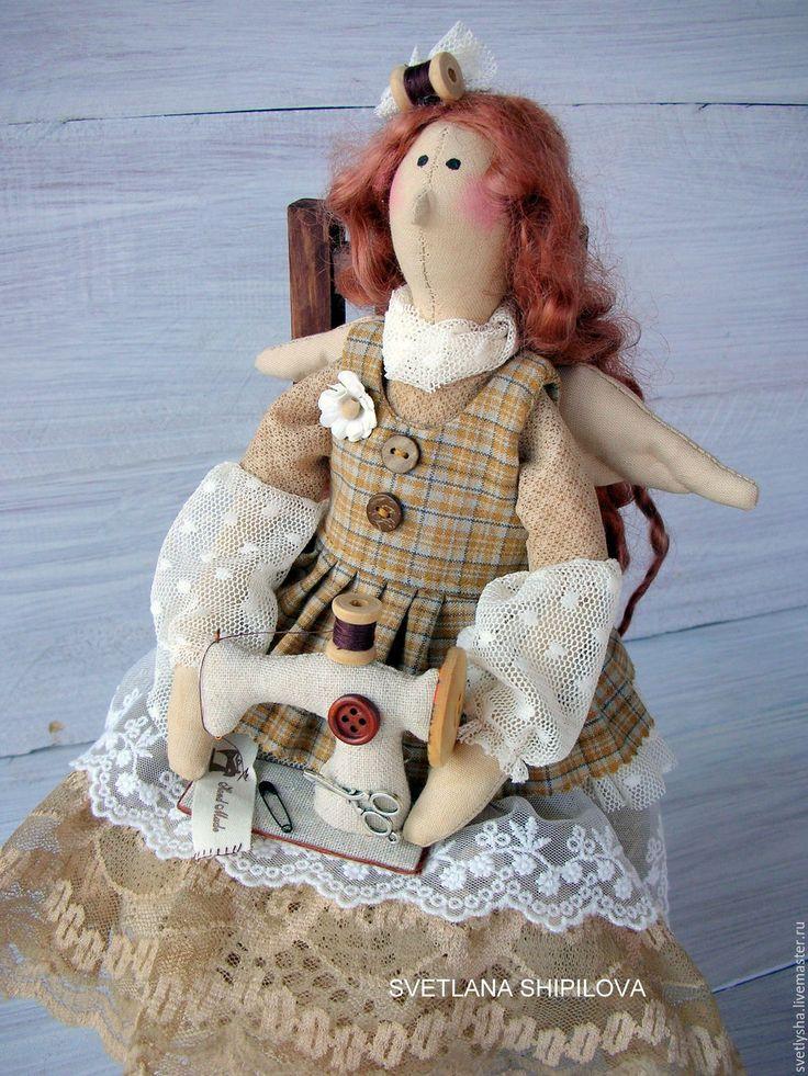 Купить Швея рукодельница - бежевый, тильда, швея, Рукодельница, ангел, винтаж, старинный стиль, старина