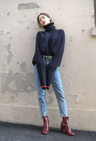Col roulé jean taille haute bottines