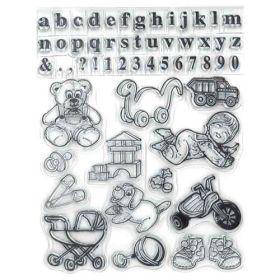 Sello de silicona con motivos de bebé, números, alfabeto...   Se utilizan igual que los sellos de caucho, se necesita la base para sellos.  1. Se coloca el sellos sobre la base acrílica para sellos.  2. Se presiona el sello sobre una almohadilla de tinta.  3. Se estampa la imagen en el lugar que más te guste.  4. Se limpia el sello con agua y se deja secar