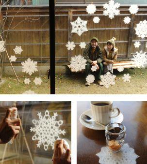 en attendant la neige... flocons de neige en papier de riz japonais à coller sur les vitres... pouétique !!