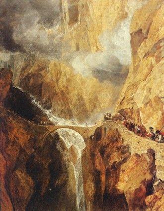 """Dramatické scenérie byly meziromantiky oblíbené. Navazovaly na preference divokých typů terénů vzrůstající během celého 18. století. Na obrázku """"Ďáblův most vprůsmyku Sv. Gottharda"""", jehož autorem je  J. W. M. Turner, kolem 1803-4."""