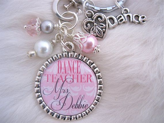 Dance TEACHER GIFT Personalized Bottle cap pendant Necklace Keychain Swim coach Art Teacher appreciation. $18.50, via Etsy.