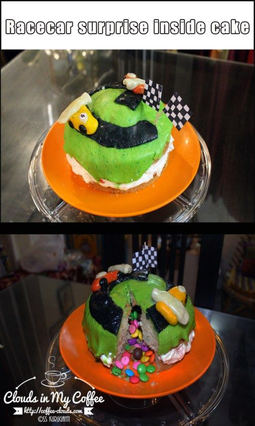 I made this for my car crazy nephew who turned four recently. He also loves Cadbury's Gems, and Cadbury's Shots, so I decided to combine his love for the two into a Race car cake - with a surprise inside!