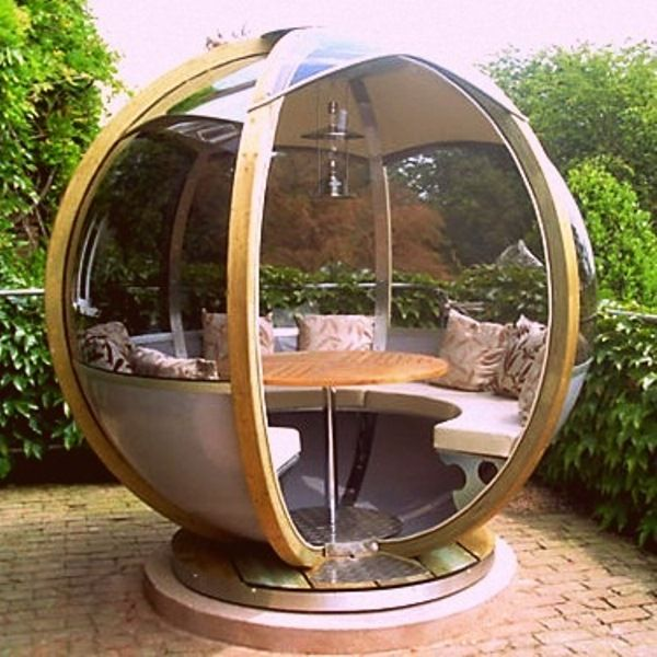 Comfortable Garden Spheres To Relax in... I have two problems with this: 1 it would get really hot in the summer, 2 where would you put it??