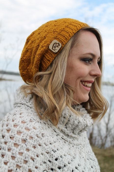 This season's hottest colour, Mustard, in a fashionable slouchy toque style. $60 #slouchyhat #toque #mustard #handmade #knit