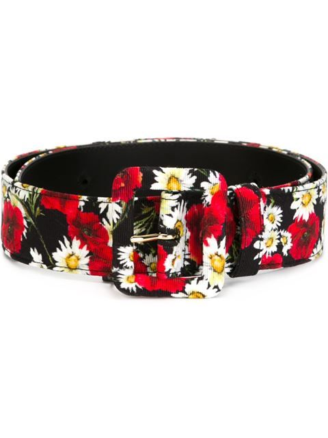 Shop Dolce & Gabbana daisy and poppy print belt .