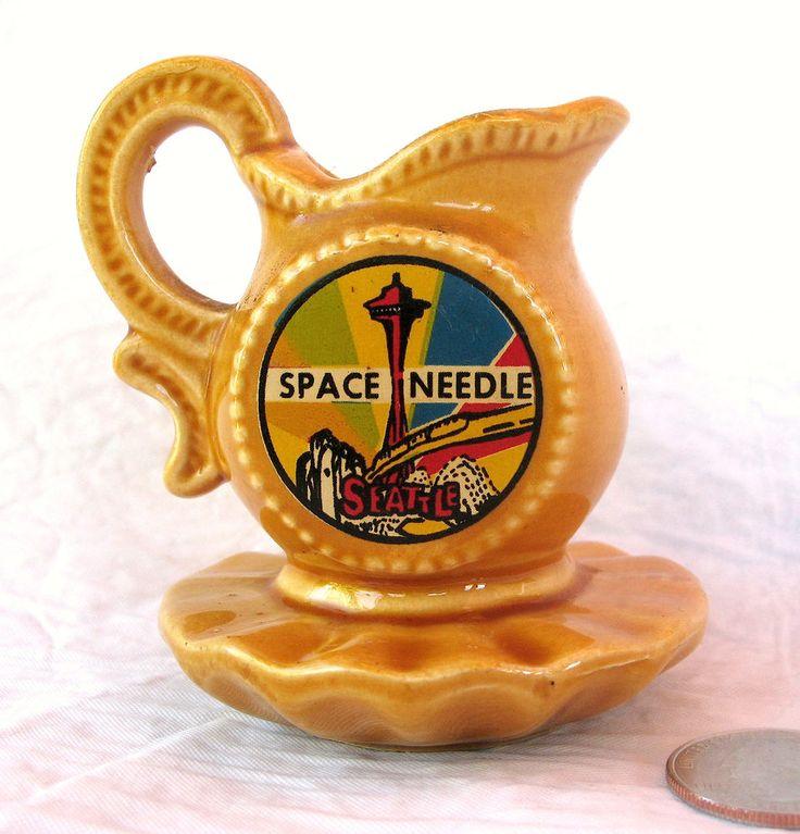 Seattle 1962 Worlds Fair Space Needle Vtg Souvenir Mini Pitcher Japan Ceramic