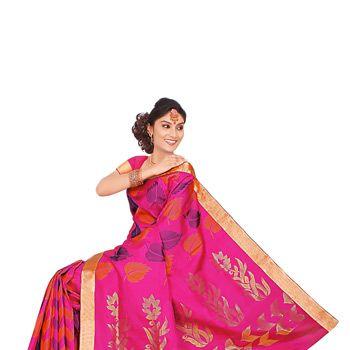 Fuschia Pink  Pure Kanchipuram Handloom Silk Saree with Blouse