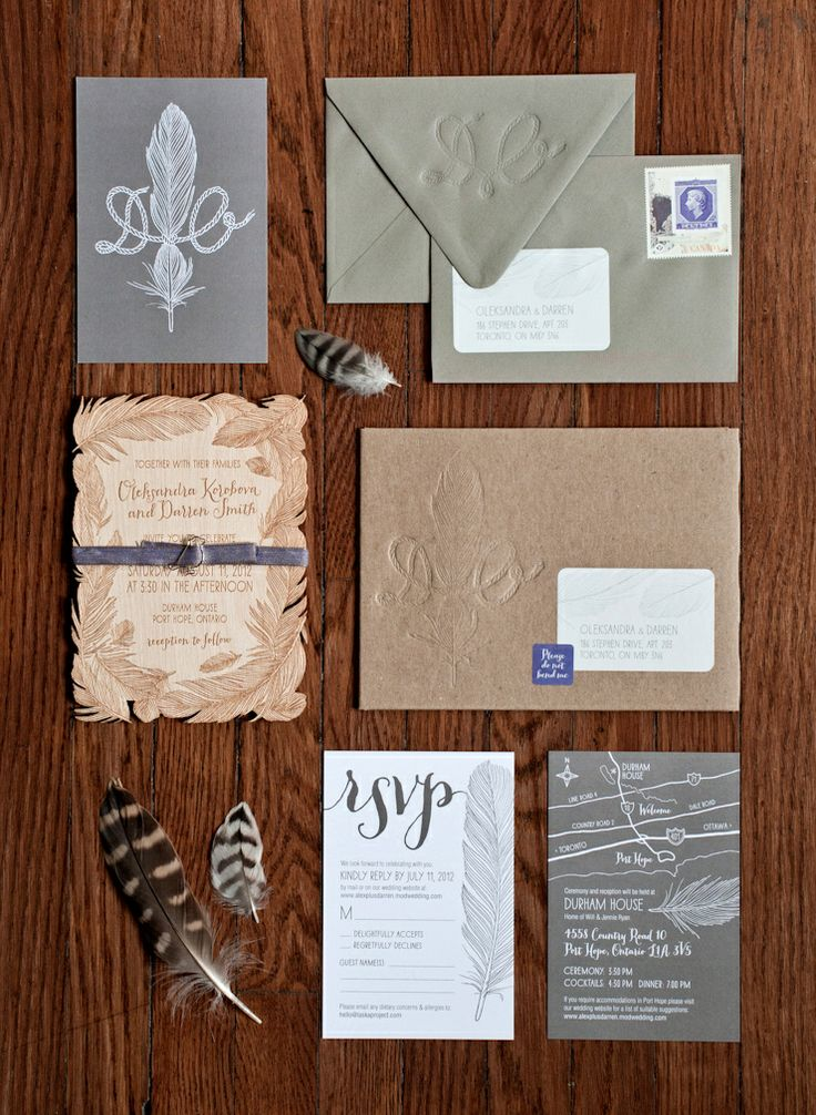 Wedding Stationery Package: laser-cut birch wood wedding invitation, letterpressed envelopes and hand-drawn feather details.