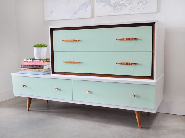Glam up your space with a mint dresser.