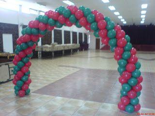 Arco caramelo o en espiral tonos navide os decoraciones con globos para navidad pinterest - Decoracion con caramelo ...