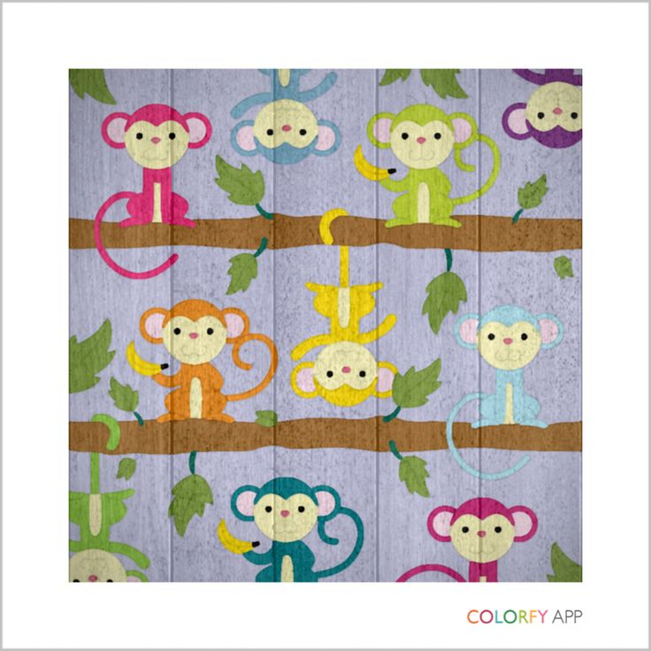 Little monkeys created using the colorfy app kids rugs