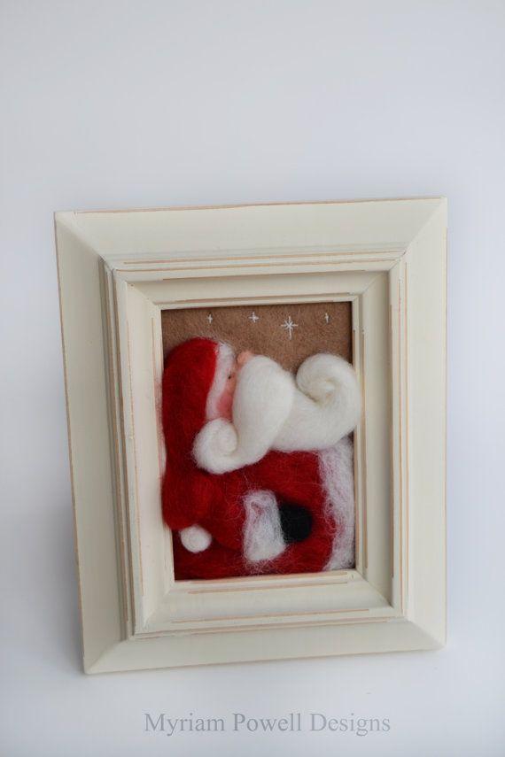Needle Felted Santa Christmas Decor  Santa by MyriamPowellDesigns, $45.00