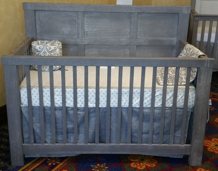 Distressed Gray Crib Features Clean Modern Lines With A Rustic Flair To Make The Perfect Nursery Cribs