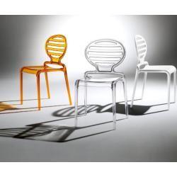 Stuhl stapelbar modernen Polypropylen fÙr Innen-und Au¤engarten , Wei¤, Schwarz, Transparent, Transparent Orange COKKA.