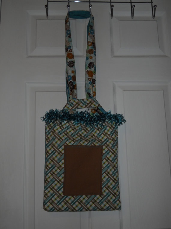 Reversible Shoulder Tote Ostrich Trim Baltic & Bark by craftyrandi, $26.00