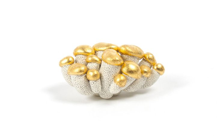 Heeang Kim. (KR)  - 2015 Proliferation-3 brooch - Brass, Stone Clay, Gold Leaf, Enamel Paint: