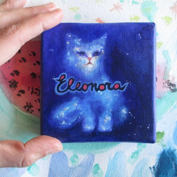 Amazing and so cute this little #Cosmic #cat in a canvas artoworks. Custom name painting handmade by #ClaudiaNanniFineArt
