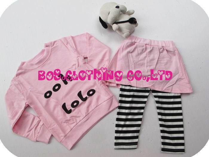 2014 новое поступление костюм младенца детей комплект одежды девушки с длинным рукавом + брюки / юбка-брюки / спд розовый установленных детей одежде розовый лк