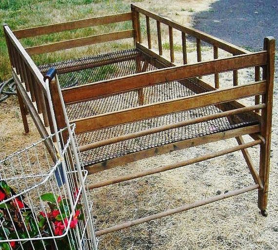 Antique Vintage 1890s Victorian Country Farmhouse Primitive Folding Cottage Wood Wire Childrens Youth Bed Crib - Flower Harvest Display on Etsy, $395.00