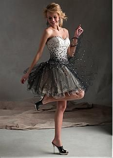 Stunning Tulle & Satin Sweetheart Neckline Short A-line Homecoming Dress