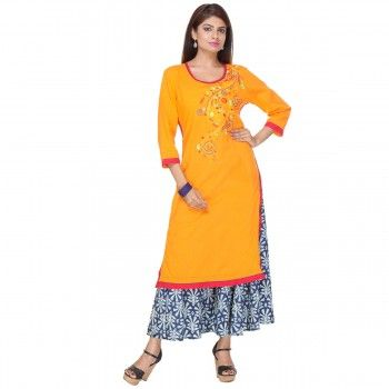 Cotton Light Orange Stitched Kurti With Palazzo - S1611159P