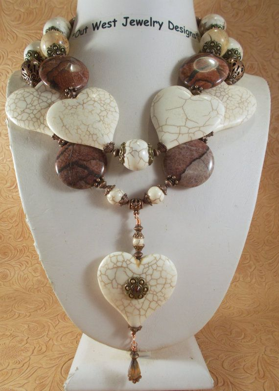 Cowgirl Necklace Set  Chunky White Buffalo Turquoise Hearts with Red Landscape Jasper by Outwestjewelry
