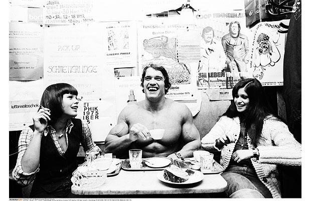 Arnold Schwarzenegger at Cafe Hawelka in Vienna, 1975