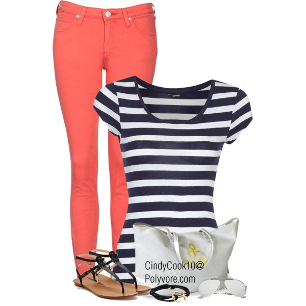 Colored Jeans & Stripes, created by cindycook10 on Polyvore