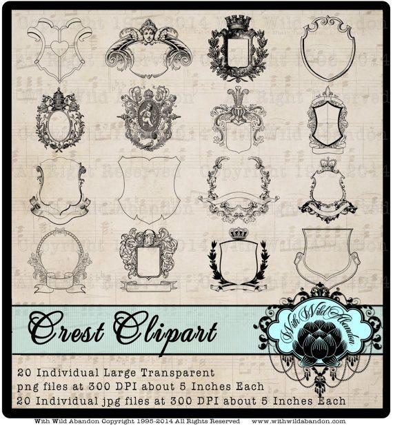 Family Crest, Royal Monogram, Coat of Arms, Royalty Clipart, Images, Overlays, Digital Design Elements or Illustrations  Crisp Crest and Coat of