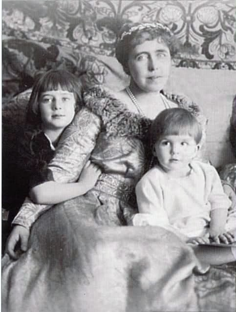 Queen of Romania with her two children.  Prince Mircea died at Buftea on 2 November 1916 of typhoid fever, during a time of war, when enemy troops were approaching Bucharest and many battles were taking place close to the city. The royal family had to quickly bury him on the grounds of Cotroceni Palace, before they went into exile to Jassy, the old capital of Moldavia, the unoccupied part north-eastern Romania.