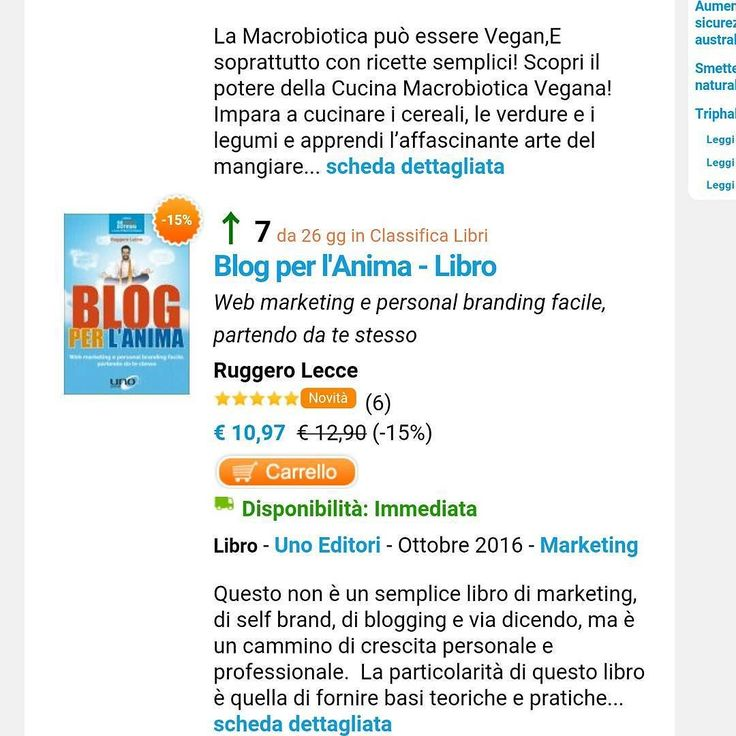 Settimo in classifica tra i primi 100 libri venduti nel gruppo Macro. Grazie a tutti. Se non l'hai ancora acquista prendilo ora in offerta (10  videocorso in omaggio) http://ift.tt/2dsnFVh #blogperlanima #ruggerolecce #vitadablogger #unoeditori
