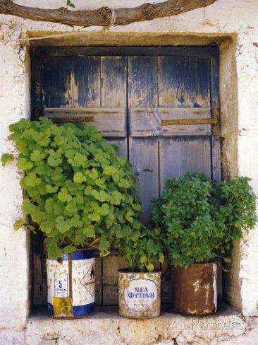 Windowsill, Paleohora, Crete, Greece .
