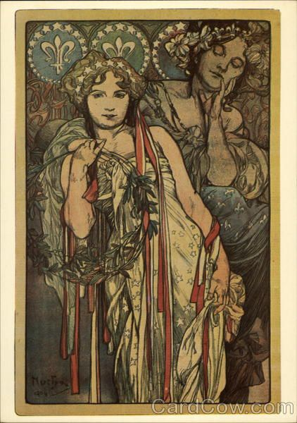Mucha Friendship Old Tarot Card Style Drawing Of A Woman A