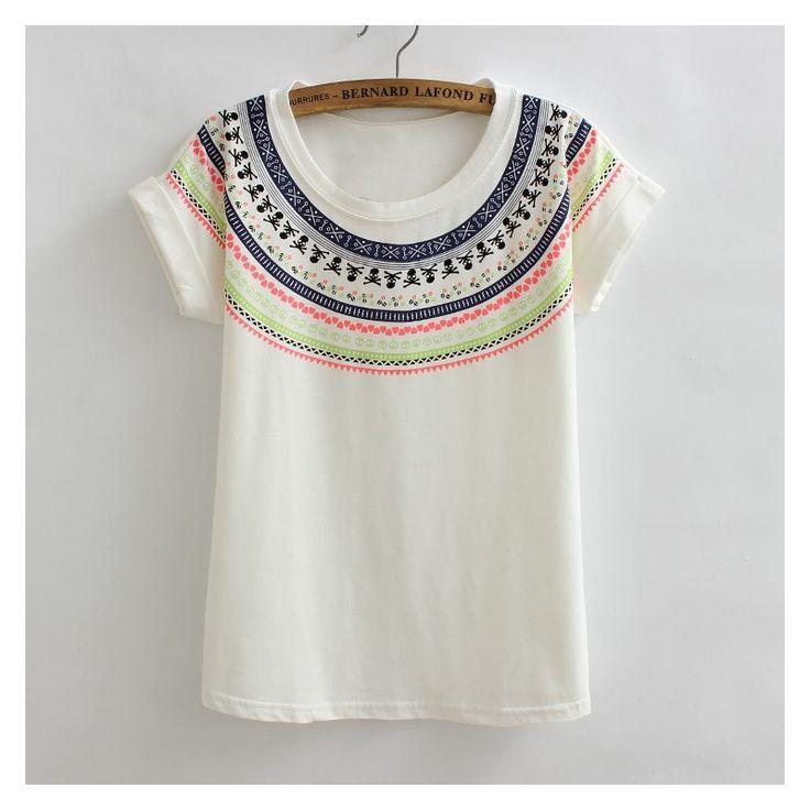 Women Cotton loose Summer T-shirt Geometric neon Aztec Printed Batwing Sleeve