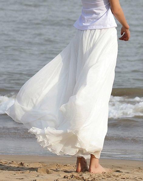 Plus Size Long Chiffon Skirt in White $44.99