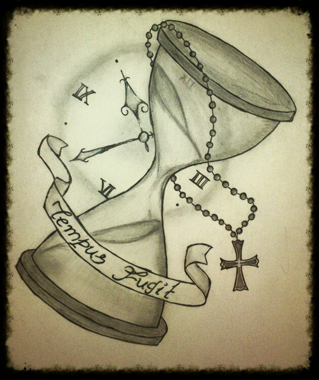 Custom Hourglass, clock and Rosario Old School Tattoo for a friend! Tempus Fugit means Time Passes in Latin!