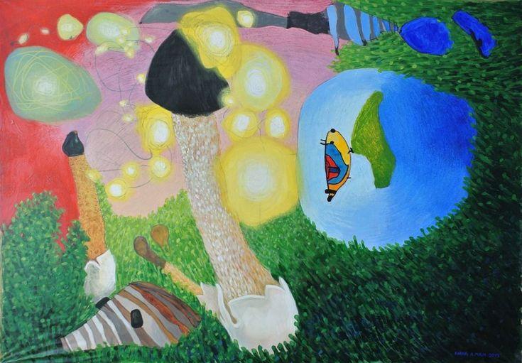 """Obraz MgA. Anny Plešmídové """"Houby"""" Houby Akryl a suchý pastel na plátně 70 x 100 cm V případě dotazů, zájmu o obraz, či poskytnutí více informací nás neváhejte kontaktovat na tel. čísle: 775 024 532."""