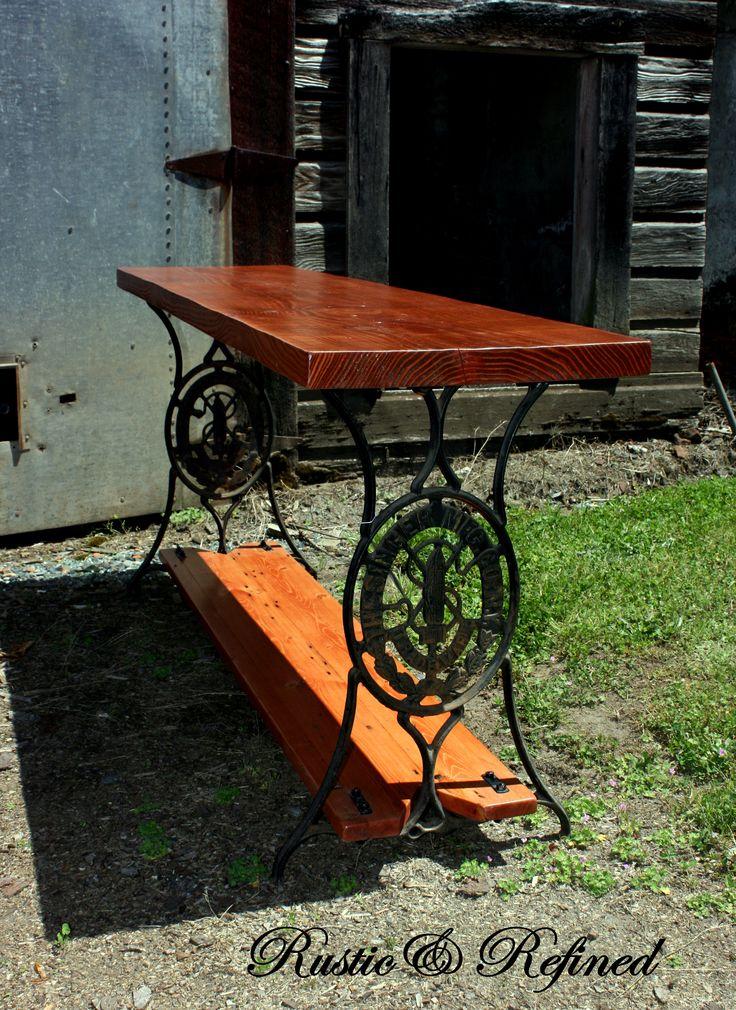 Custom Slab Top Repurposed Sewing Table As Sofa Table