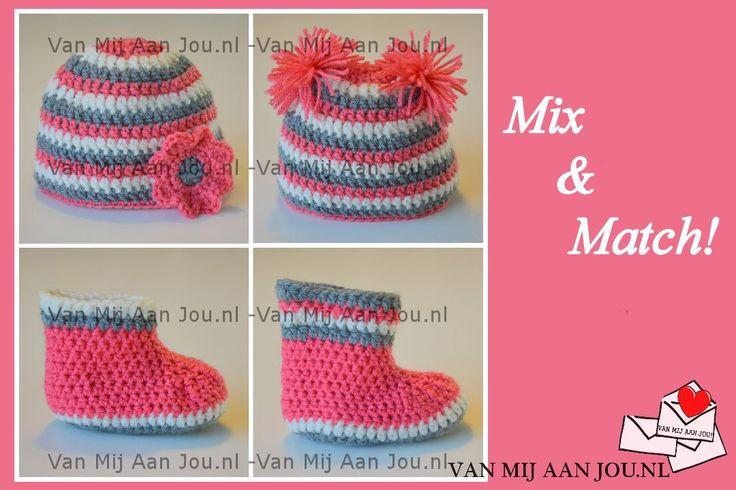 newborn baby en peutermaat - voor meisjes en jongens - muts met slofjes of laarsjes - op bestelling gehaakt - met de hand op maat en kleur gehaakt - www.vanmijaanjou.nl -