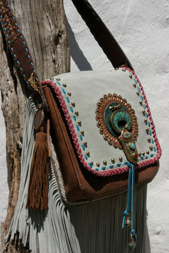 ..for the hippie spirit...Cognac leather with grey suede handmade bag by NIZHO