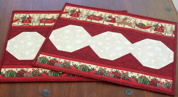 Quilted Christmas Placemats  Santa Table Mats  by RedNeedleQuilts